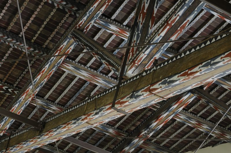 Detail of the timber roof truss in the San Francesco Church.